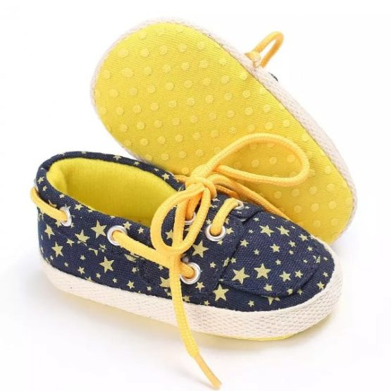 Boy Moccasin Dotted Blue-Yellow