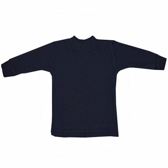 High Neck Cotton Sweater (Dark-Blue)