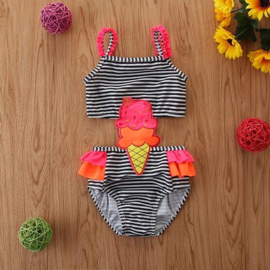 Ice-cream Black Baby Swimsuit
